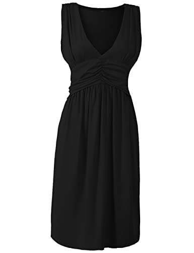 Anca Demi Women's V-Neck Sleeveless Fit And Flare Ruched Waist Skater Dress Plus