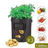 OBUZOO Potato Grow Bags,3 Pack 7 Gallon Grow Bag/Aeration Fabric Pots Plant Bags w/Handles (Black),Garden Vegetable Growing Bags Bag Plant Pot with Flap