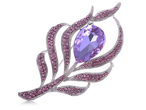 Alilang Antique Large Amethyst Color Center Stone Rhinestone Flower Pin Brooch (Stone Flower Brooch)