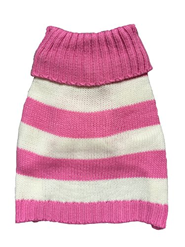 - Vedem Pet Turtleneck Striped Knit Sweater Coat for Dogs Cats (M, Magenta)