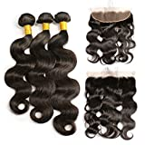 Brazilian Virgin Human Hair 3 Bundles with Frontal Closure Unprocessed 100% Body Wave Remy Human Hair Bundles with 13X4 Free Part Full Lace Frontal Closure with Baby Hair(18 20 22 With 16 Frontal)
