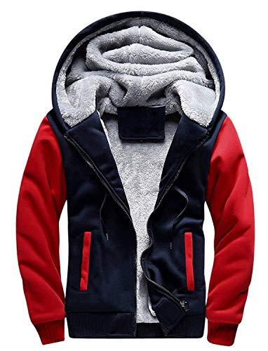 Little Beauty Heavyweight Fleece Hoodie for Men Sherpa Lined Full Zip Up Long Sleeve Winter Coat Jacket(US M/Label XL, Navy-Red)