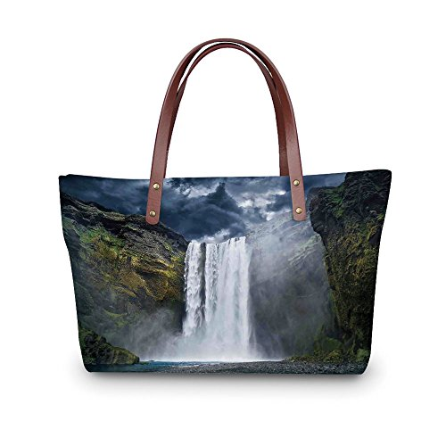 Design the fashion for you Waterproof Women Casual Handbag Tote Bags,Waterfall,Waterfall and Grand Cliffs in Northern America Force of Nature Art Print Decorative,Green Blue White. (Grande Glass Clear Waterfall)