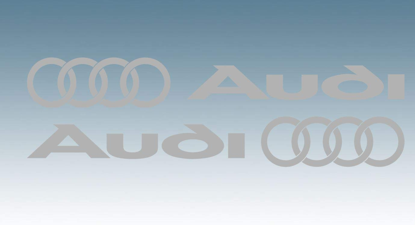 Side Skirt//Body Work Vinyl Decals for Audi Owners Set of 2 300x40mm LOGO /& RINGS White