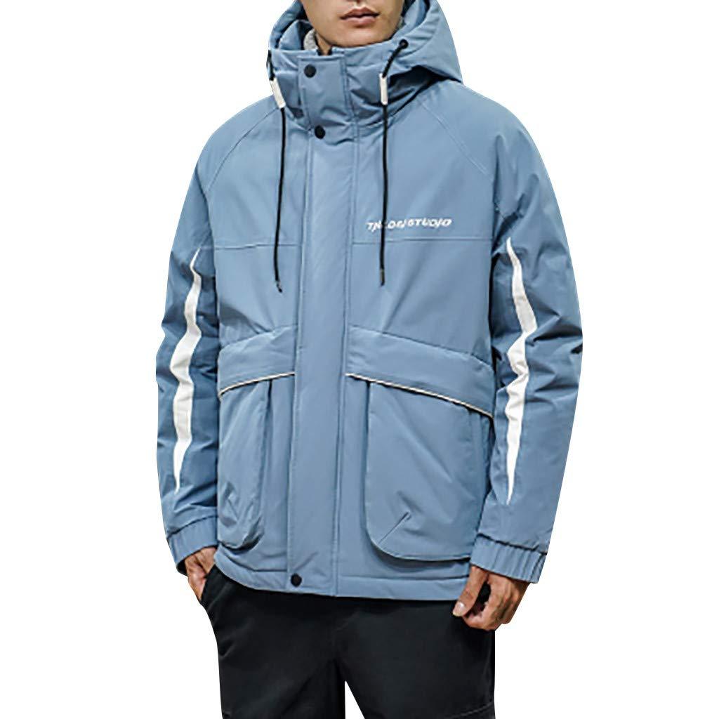 wuliLINL Mens Cotton Down Jacket Solid Color Hooded Winter Coat Lightweight Winter Warm Outwear(Blue,XXXXL) by wuliLINL