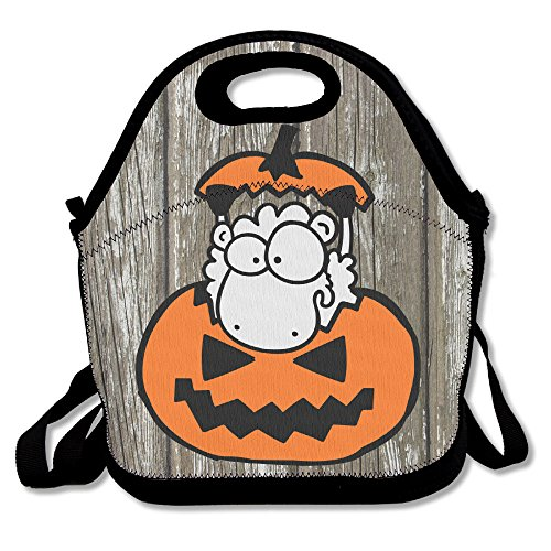 Creepy Halloween Pumpkin Insulated Lunch Box Food Bag Neoprene Gourmet Handbag Lunchbox Cooler Warm Pouch Tote Bag For School Work (Halloween Pumpkin Cooler Dry Ice)