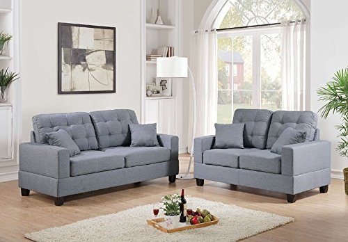 Poundex F7858 Bobkona Aria Linen-Like 2 Piece Sofa and Loveseat Set, Grey (And Loveseat Sofa Leather Set Furniture)