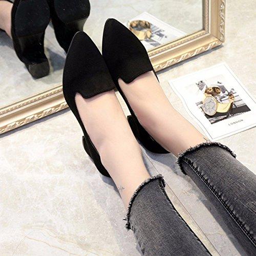 Grandes Dinero Mujer KPHY Tacon black Gordos Zapatos Talon De Altos Alto Grueso Pies De Primavera Zapatos De De Vuelta EwwPqCO