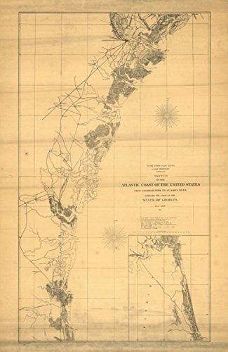 Map: 1861 Sketch of the Atlantic coast of the United States from Savannah River to St. Mary's River, embracing the coast of the State of Georgia|Atlantic Coast|Atlantic Coast - Online Buy Vouchers E