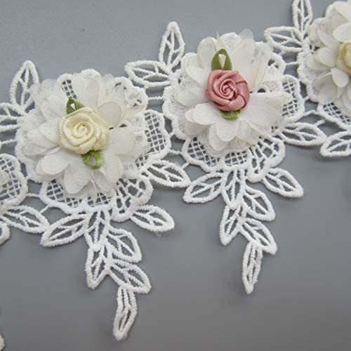 5.2cm/×5.2cm// 2/×2 Flower 1 10pcs Flowers 3D Chiffon Floral Lace Ribbon Edge Trim Vintage Style White Edging Trimmings Fabric Embroidered Applique Sewing Craft Wedding Bridal Dress DIY Clothes