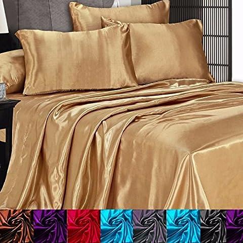 3 Pc Satin Silky Sheet Set King /Gold (Auction Kings Season 3)