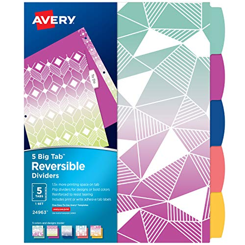 Avery 5 Tab Reversible Fashion Binder Dividers, Ombre Geometric Design, Big Tabs, 1 Set (24963) (Fashion 5.00)