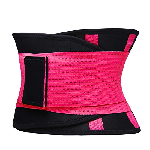 VENUZOR Waist Trainer Belt for Women - Waist Cincher Trimmer - Slimming Body Shaper Belt - Sport Girdle Belt (UP Graded) (Large, Fluorescence Pink) by VENUZOR (Image #5)