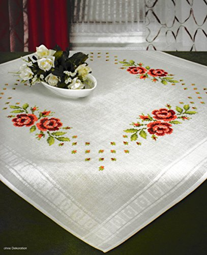 Printed Stamped Cross Stitch Tablecloth Kit for Embroidery (Roses 6835)