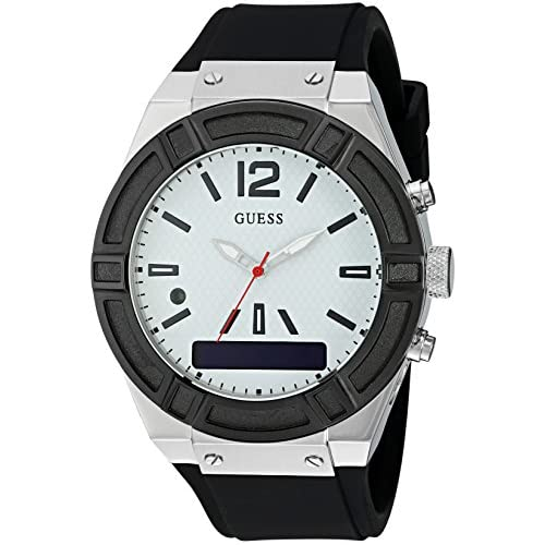 chollos oferta descuentos barato Guess C0001G4 Reloj analógico Digital de Cuarzo con Correa de Silicona para Hombre