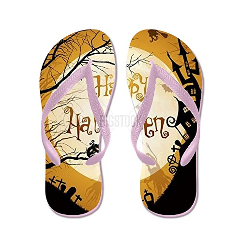 CafePress Halloween Illustration With Black Silho - Flip Flops, Funny Thong Sandals, Beach Sandals Pink