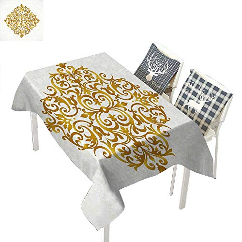 WilliamsDecor Mandala Clear Tablecloth Victorian Style Traditional Filigree Inspired Royal Oriental Classic PrintPale Caramel White Rectangular Tablecloth W52 xL70 inch ()