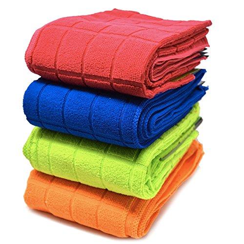 Xelay Microfibre Tea Towels Plain Check Soft Super Absorbent and Lint Free...