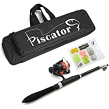 Portable Fishing Lure Rod Set/ Spinning Rod and Reel Combos/ Fishing Full Kit/ Travel Fishing Suit in a Delicate Fishing Carrier Bag Case Piscator Zone Fishing Gear Organizer