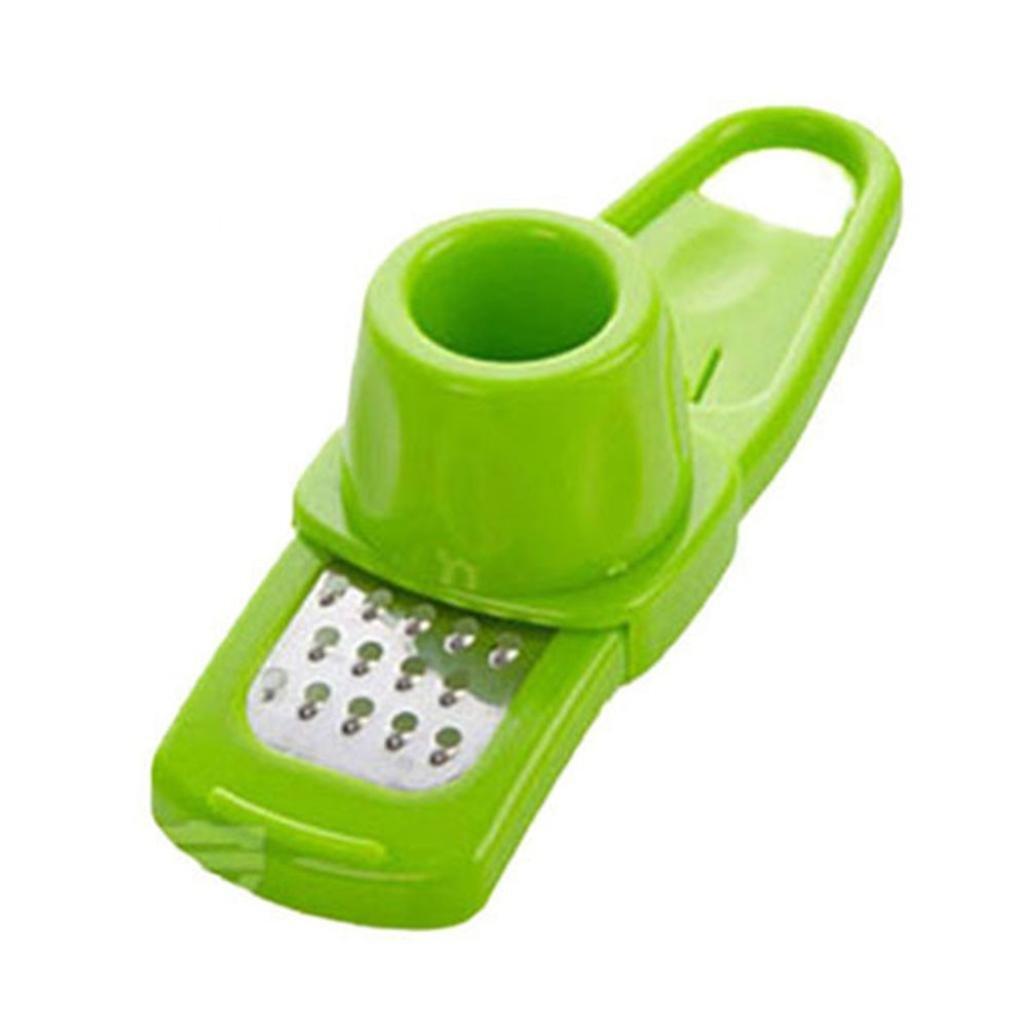 LLguz Multifunction Stainless Steel Garlic Grinder Pressing Garlic Slicer Cutter Shredder Kitchen Tool (Green)