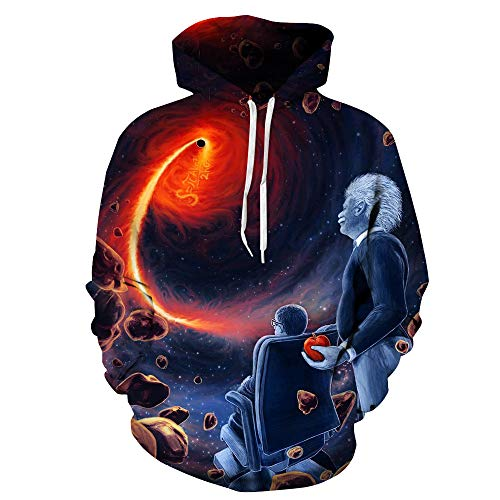 OYABEAUTY Unisex Realistic 3D Print Galaxy Pullover Hoodie Hooded Sweatshirt (Small/Medium, Einstein)