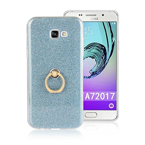 Luxury Bling Sparkle Style Case, Soft TPU [Silicone] Flexible Glitter Back Cover with Fingerring Stand [Anti Scratch] [Shockproof] for Samsung Galaxy A7 2017 ( Color : White ) Blue