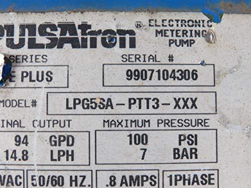 Pulsatron LPG5SA-PTT3-XXX Metering Pump 115 VAC 50//60 Hz 4 GPH 96 GPD