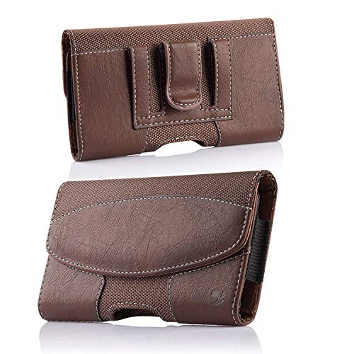 iPhone 8 Plus Belt Clip Case, kiwitatá Horizontal Premium PU Leather Cell Phone Carrying Belt Pouch Holster with Clip and Loops for iPhone7 Plus 6 Plus XS MAX XR Brown