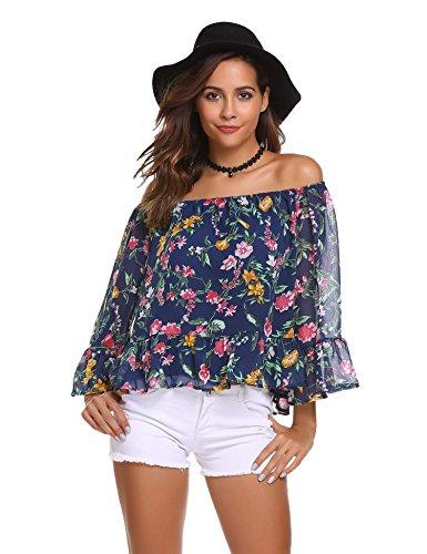 Barchetta Donna Kimono Maniche Blu shirt A Marino T Lunghe Meaneor 0IHq4H