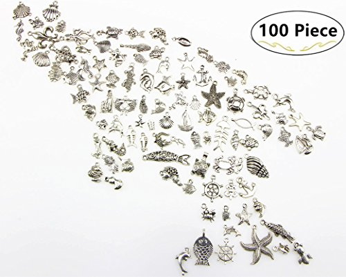 100 Pieces Antique Silver Charms Pendant, Carnatory Mixed DIY Silver Antique Ocean Fish & Sea Creatures Pendants Charms for Crafting,Bracelet Necklace Jewelry Findings Jewelry Making Accessory