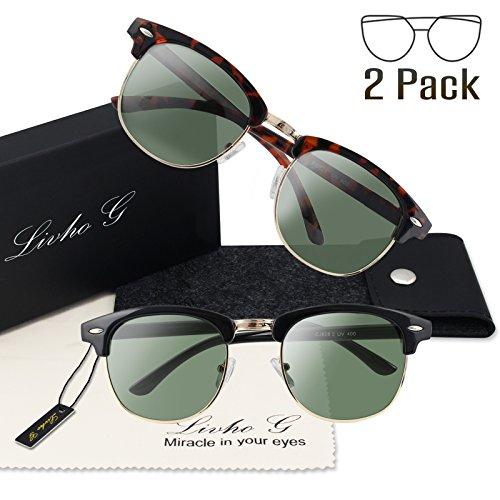 2b0ea9bd98 Livhò 2 Pack of Polarized Sunglasses Women Men Semi Rimless Frame Retro  Sunglasses (Leoaprd Green + Black Green) - Buy Online in Oman.