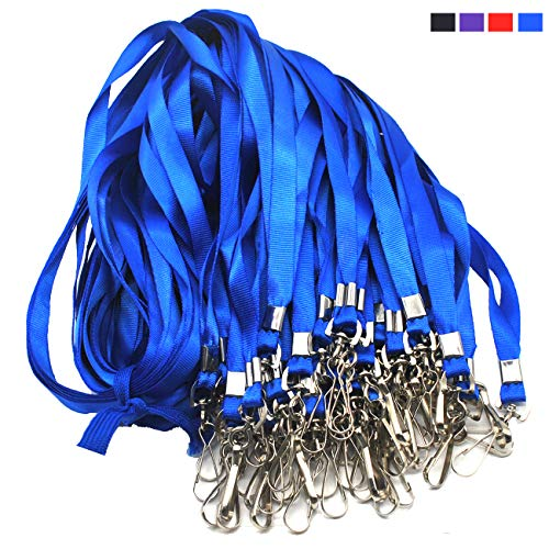 Blue Lanyard Bulk Lanyards for Id Badges Flat Lanyard with Badge Clip Swivel Hook Beebel 50 Pack]()