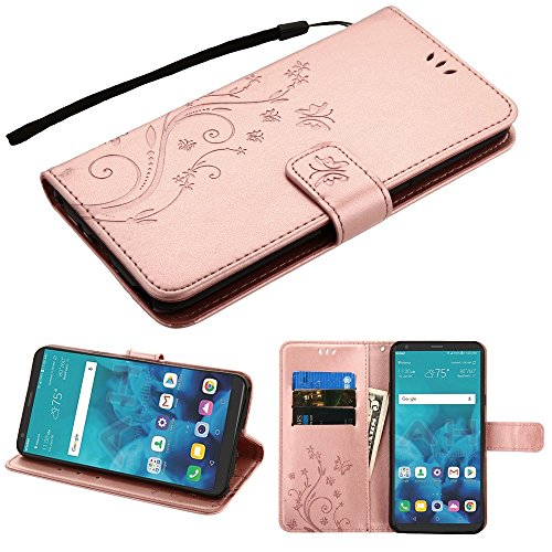 JoJoGold Case for LG Stylo 4 / Q Stylus, Bicast Leather Floral Design Embossed Flip Cover Wallet Case with Magnetic Flap and Kickstand, Comes with Wrist Strap and Film Screen Protector - Rose Gold