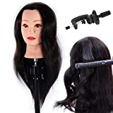 HAIREALM 24' Mannequin Head 100% Human Hair Hairdresser Training Head Manikin Cosmetology Doll Head (Table Clamp Stand Included) HA0218P
