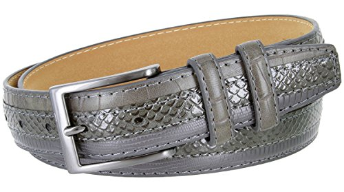 Genuine Leather Belt with Alligator, Lizard and Snake Skin Embossing (Gray, 40)