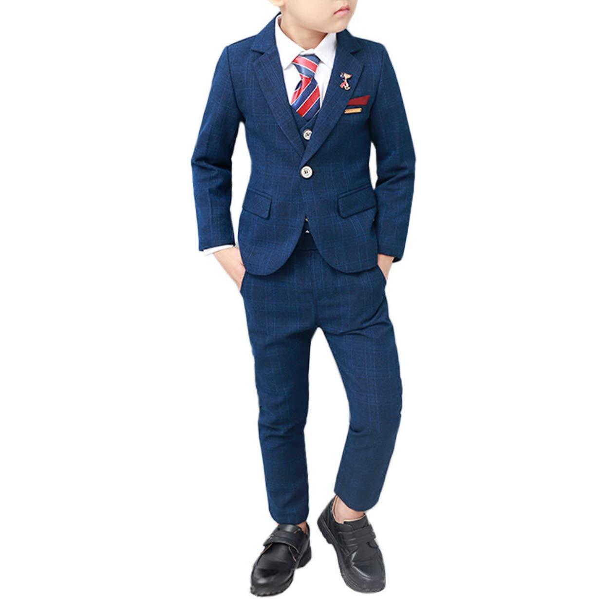 Kids Formal Boys Suits Tuxedo with Blazer Vest and Pants Sets Size 5T Blue2 110 cm