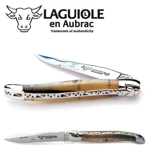 Laguiole en Aubrac handmade knife 12 cm L0212BEIF ram's horn handle, blade and bolsters stainless steel shiny