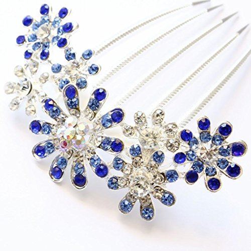 Iebeauty® Pack of 2 Beautiful Flower Style Rhinestone Tuck Hair Comb Clip Bridal Acessory (Blue)