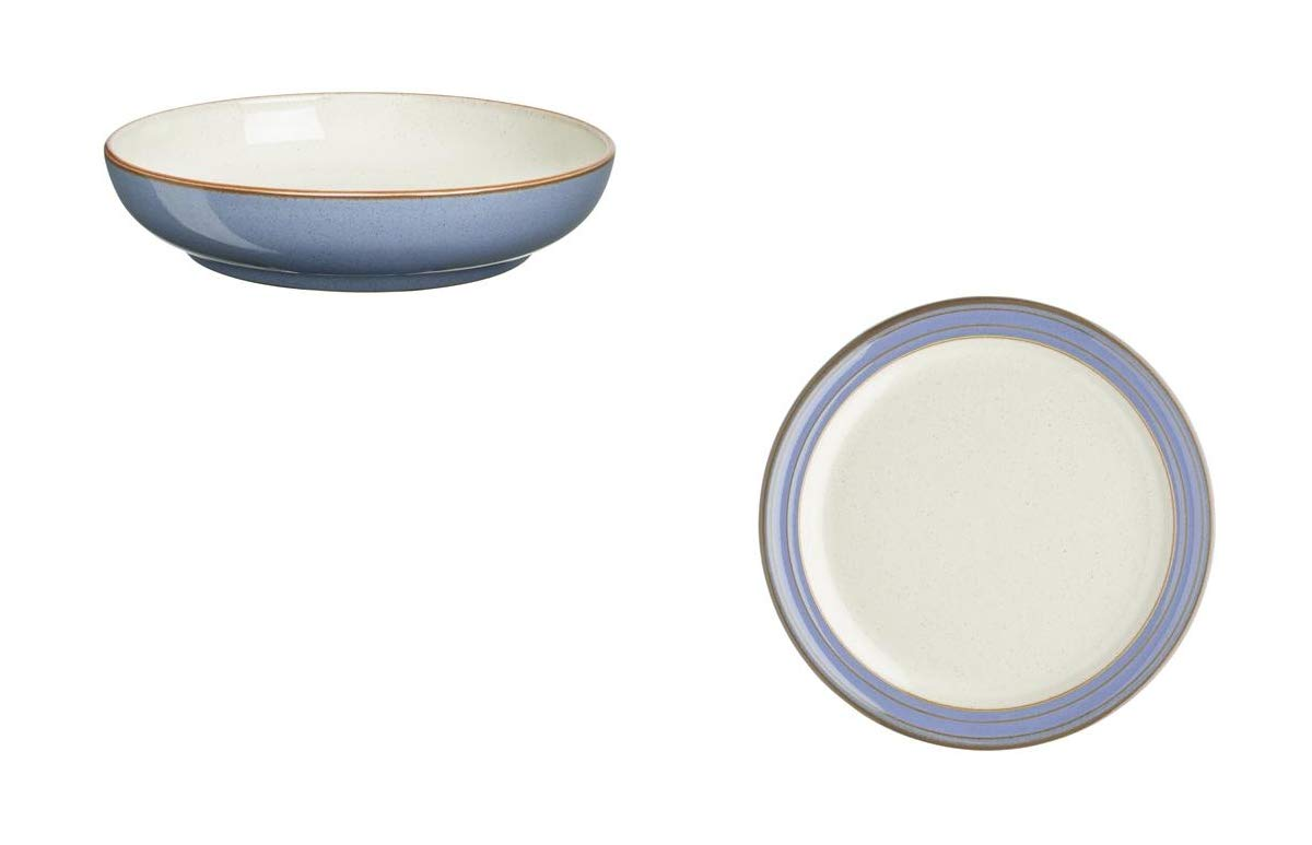 Denby Heritage Fountain Large Nesting Bowl and Tea Plate, Set of 4