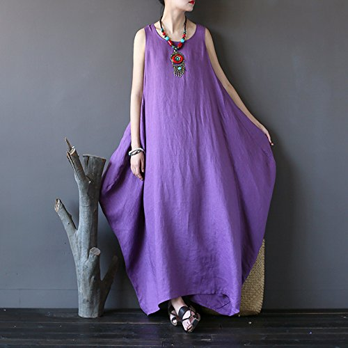 Aeneontrue Loose Women's 100 Sundress Lightweight Tank Purple Linen Dresses rSrHw