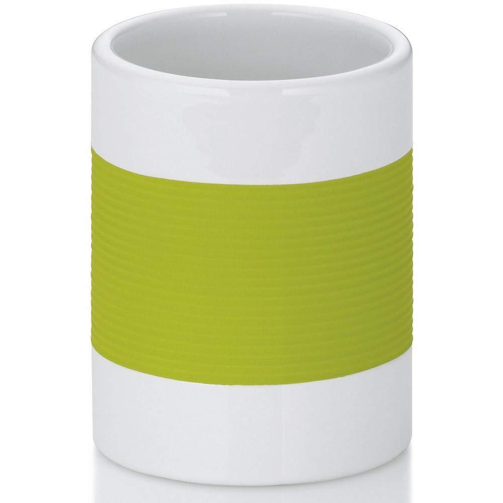 Kela Bathroom Tumbler Cup/Toothbrush Holder Laletta Collection, White/Lime Green by Kela