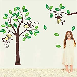 Monkey on Tree Removable Wall Decals Vinyl Wall Stickers Baby Kids Room Family Wall Art Stickers