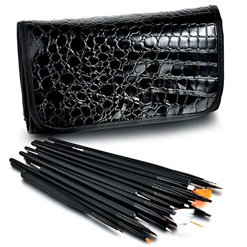Glow Professionelle 25 Stück Nagel Kunst Pinsel und Punktierung Werkzeug-Satz; schwarz
