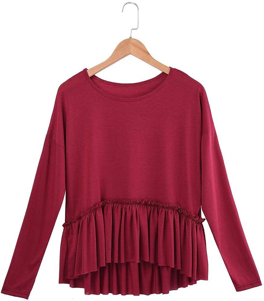 XUANOU Women Long Sleeve Cut Loose Ruffle Hem O-Neck Tops Shirt Blouses Pleated T-Shirt Autumn Hoodies Patchwork Slim Hooded