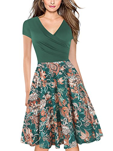 oxiuly Women's V-Neck Cap Sleeve Floral Casual Work Stretch Swing Dress OX233 (S, Green FP)