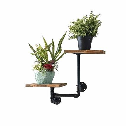 Flower Stand Floating Shelves Wall 2 Tier Planter Holder Decoration Display Shelf Storage Rack Pipe Bracket