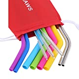Mcool 8Packs 6Pcs Silicone Straws 2Pcs Extra Long Stainless Steel Straws for 30 oz Tumber Yeti/Rtic- +3 Brushes+1 Red Storage Pouch