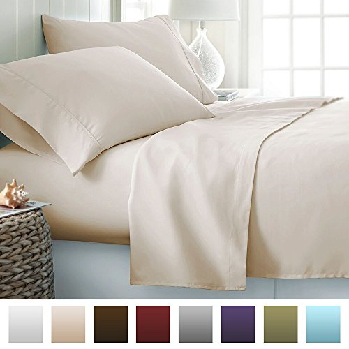Beckham Hotel Collection Luxury Soft Brushed Microfiber 4 Piece Bed Sheet Set Deep Pocket - Queen - Cream