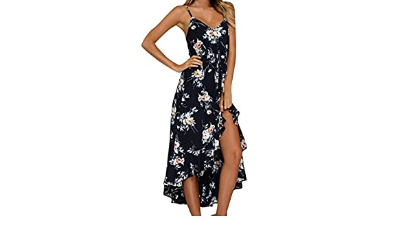 DEATU Women Boho Backless Printing Exceedingly Sexy Long Dress Summer  Sleeveless Beach Dress at Amazon Women s Clothing store  97835aaa7