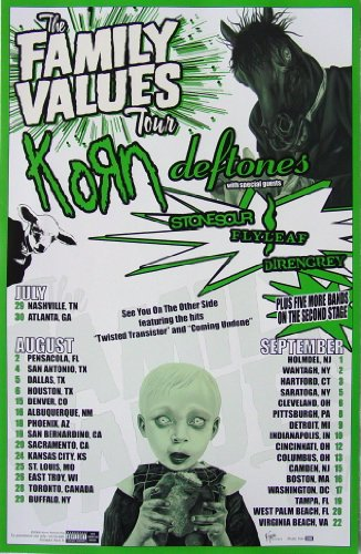 - Korn - The Family Values Tour 2006 - Poster - New - Rare - Deftones - Stone Sour - StoneSour - Flyleaf - 10 Years - Deadsy - James Shaffer - Munky - Reginald Arvizu - Fieldy Snuts - David Silveria - Jonathan Davis - Sexart - LAPD